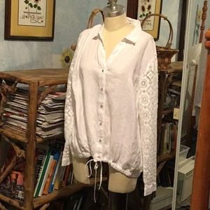 Linen white blouse with lace sleeves NWT J JILL